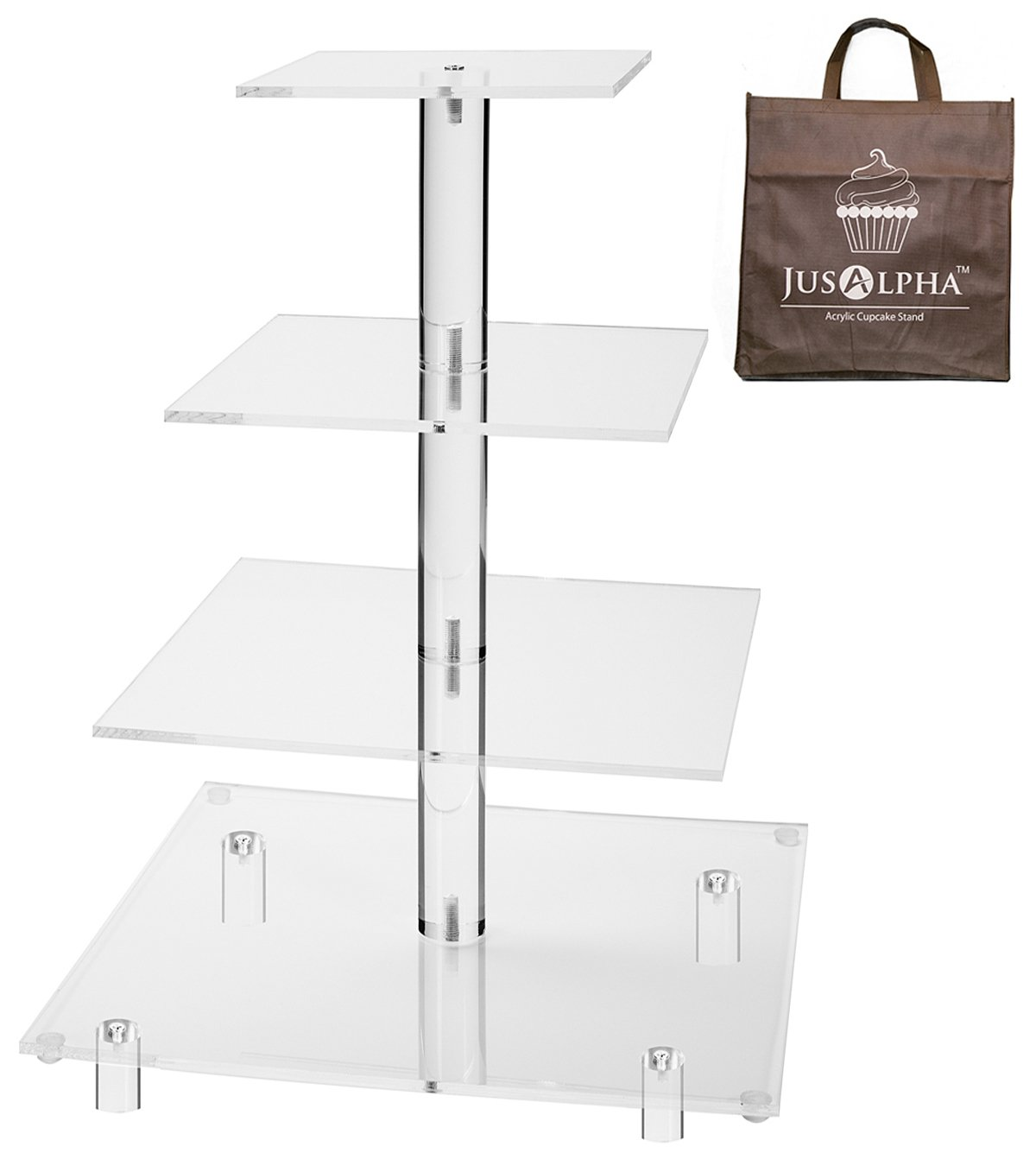 Jusalpha 4 Tier Square Wedding Acrylic Cupcake Tower Stand-Cake Stand-Dessert Stand 4 Tier (Tall version) (4SF-15 IN)