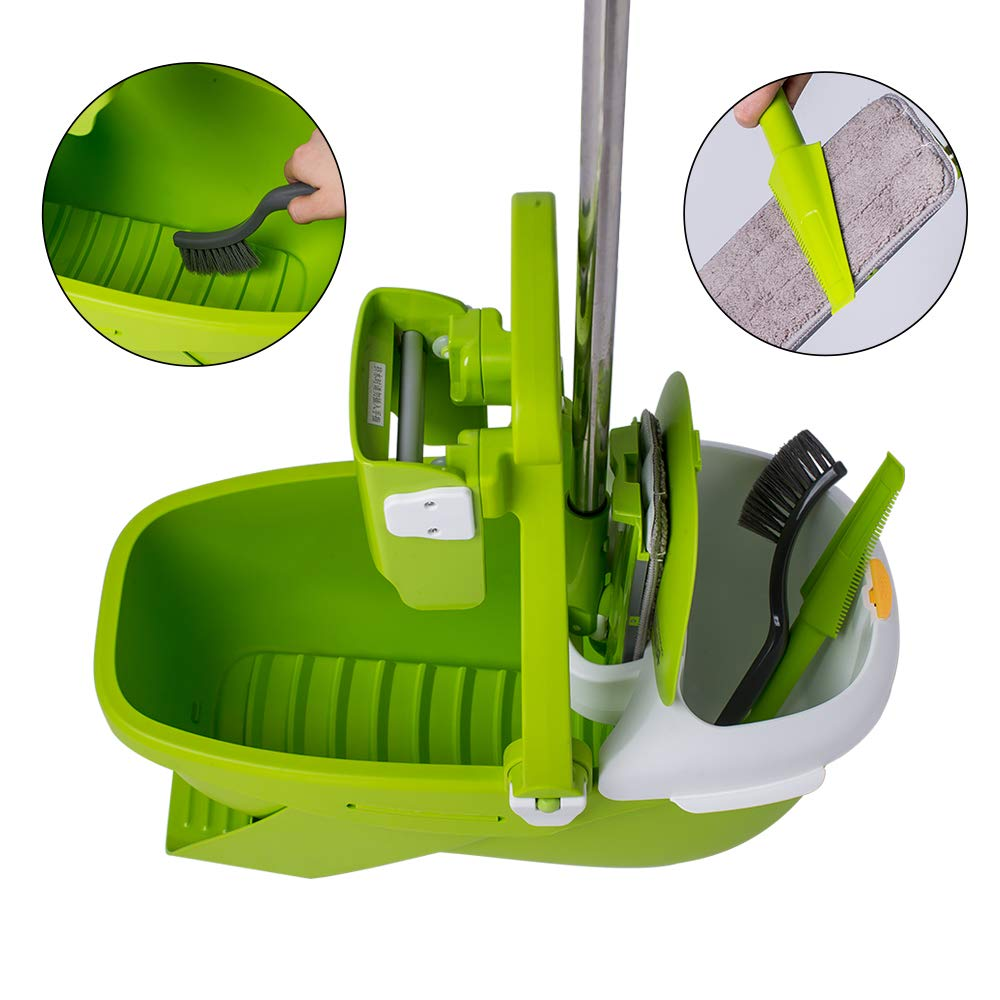 CQT Microfiber Mop Buckets Floors Cleaning System with 2 Washable Flat Mop Pads C2