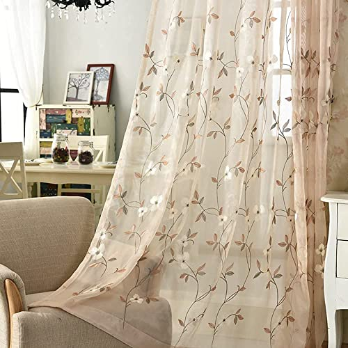 pureaqu Floral Embroidered Sheer Curtains - the best window curtain panel for the money