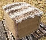 Burlap Faux Fur Ottoman Slipcover