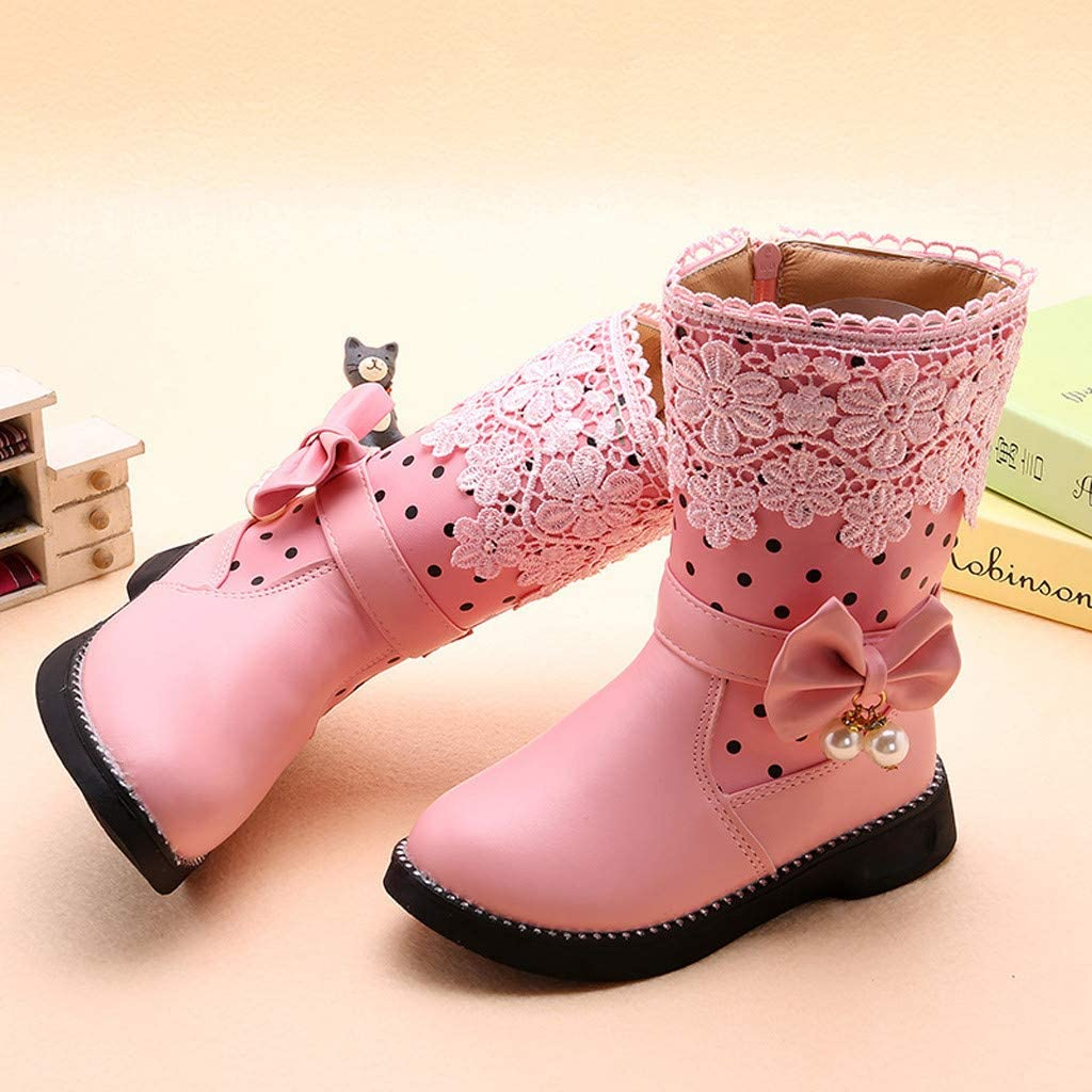 Girls Child Autumn Winter Warm Shoes High Velvet Boots for 4-11 Years Old Teen Butterfly Knot Princess Shoes