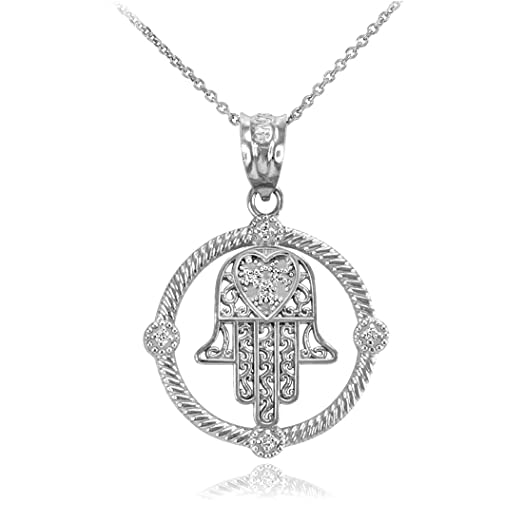 Amazon 14k white gold filigree hamsa diamond pendant necklace 14k white gold filigree hamsa diamond pendant necklace 16quot mozeypictures Gallery