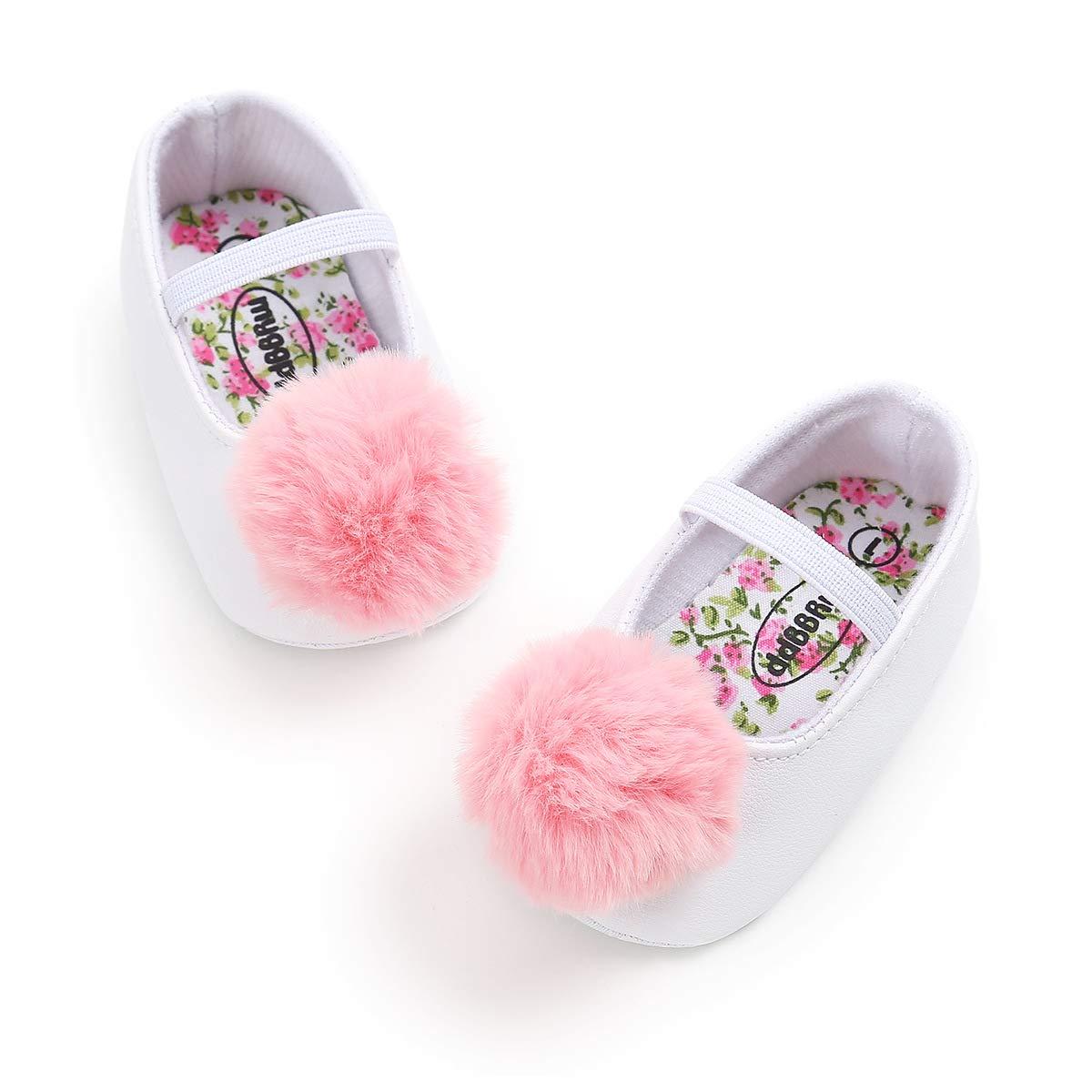 Baby Girls Mary Jane Flats Pom Pom Soft Sole Shoes Floral No-Slip Toddler Princess Dress Shoes
