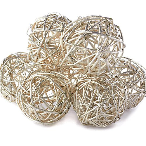 Factory Direct Craft Group of 7 Hand Crafted Platinum Grapevine Twig Balls