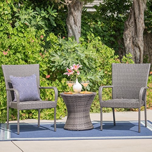 Christopher Knight Home 300966 Polk Outdoor 3 Piece Wicker Stacking Chair Chat Set, Grey -
