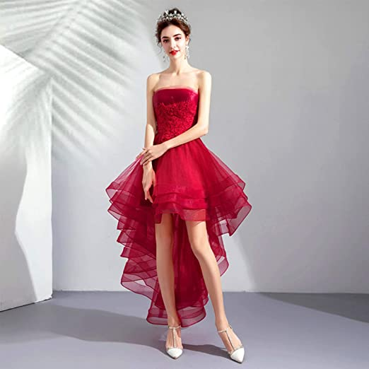 CJJC Vestido de Novia, Rojo, Simple, Sexy, sin Espalda