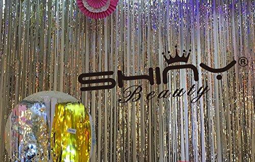ShinyBeauty Foil Fringe Silver-9FTX8FT Metalic Fringe Curtain Tinsel Photo Backdrop by ShinyBeauty (Image #3)