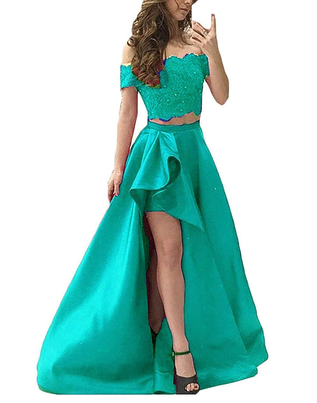 Aqua Jingliz Off Shoulder High Low Beaded Prom Dresses Long for Women Formal 2 Pieces Satin Evening Gowns for Juniors