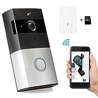 WiFi timbre inalámbrico de vídeo con Interior timbre y 8G tarjeta de memoria, HD cámara de seguridad Audio de dos vías, visión nocturna, movimiento PIR y dedection Smart App Control por IOS y Android.