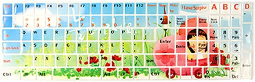 Flor roja plantas verdes pegatina para el teclado de la ...