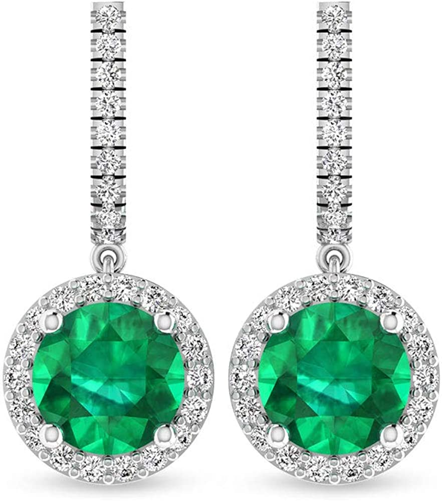 Pendientes de gota con halo de diamante certificado IGI, redondo verde de piedra preciosa IJ-SI diamante cúmulo pendientes colgantes, 18K Oro blanco, Par