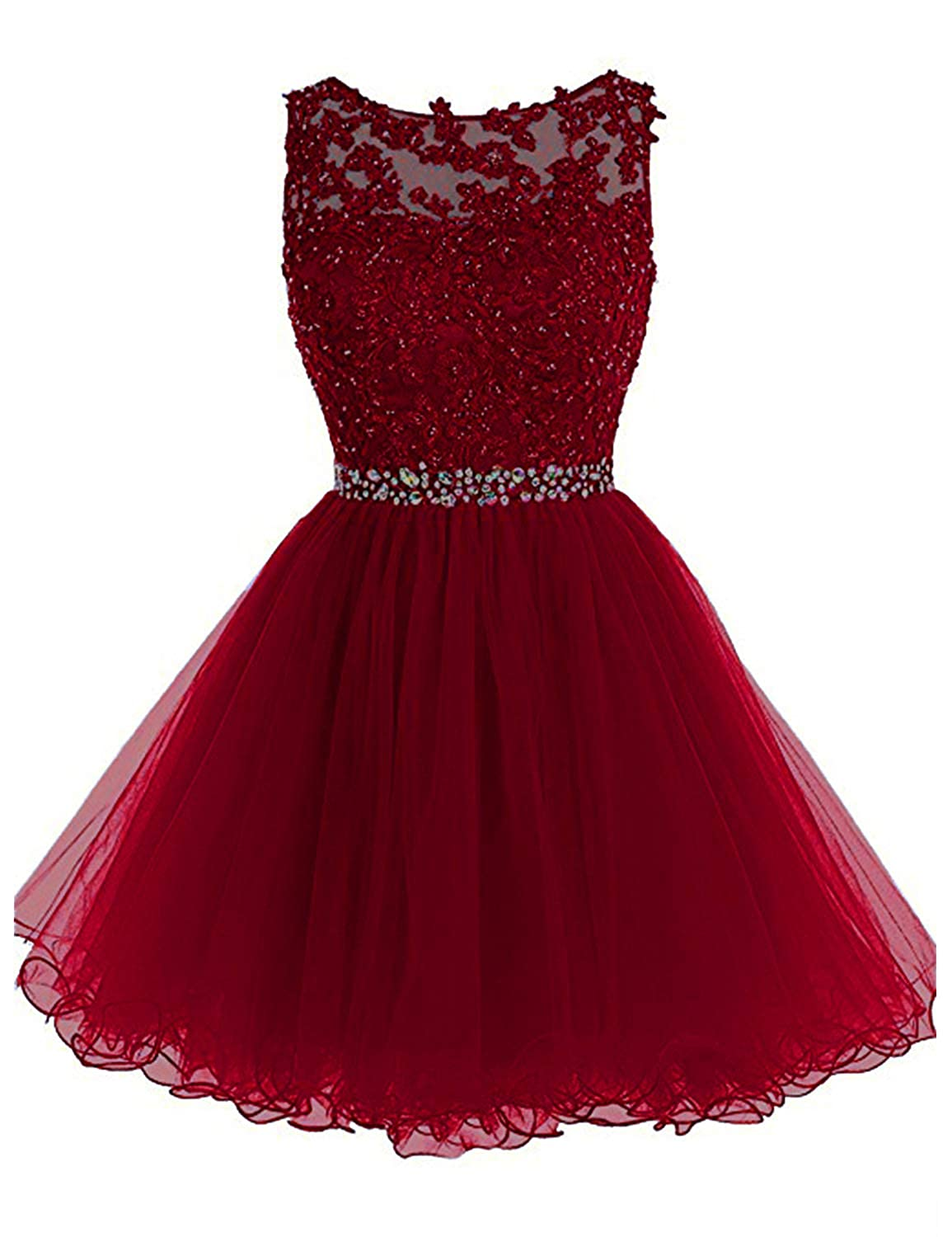 0 Burgundy Vimans Women's Short Tulle Homecoming Dresses 2018 Knee Length Lace Prom Gowns Dress448