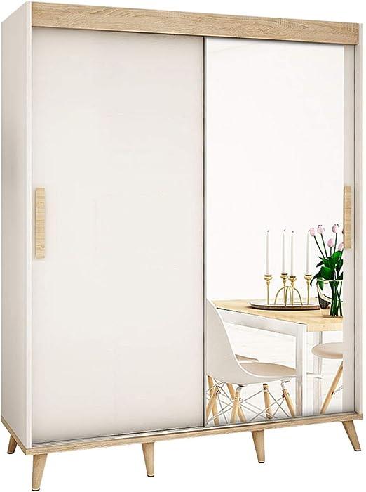 Mirjan24 Skandi T2 - Armario de puertas correderas con espejo frontal, cajón, armario de estilo escandinavo para dormitorio juvenil, salón o pasillo: Amazon.es: Juguetes y juegos