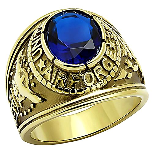 Air Force G: 5.0ct Simulated Sapphire USA Military Ring Steel n IP Gold-tone finish, 3254B sz ()