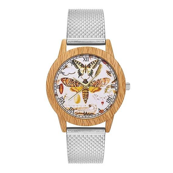 Relojes para Mujer,Pwtchenty Moda Grano de Madera Reloj de Pulsera ...