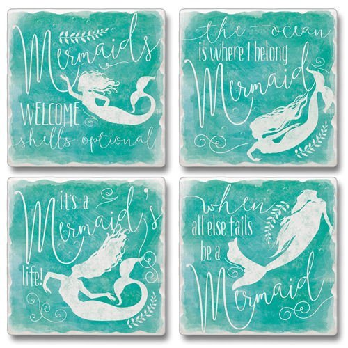 (Highland Graphics Set of 4 Absorbent Stone Coasters - When All Else Fails be a Mermaid,Teal)