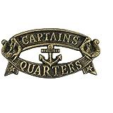 "Hampton Nautical  Cast Iron Decoration Captain's Quarters Sign Metal Wall Plaque, 9"", Antique Gold"