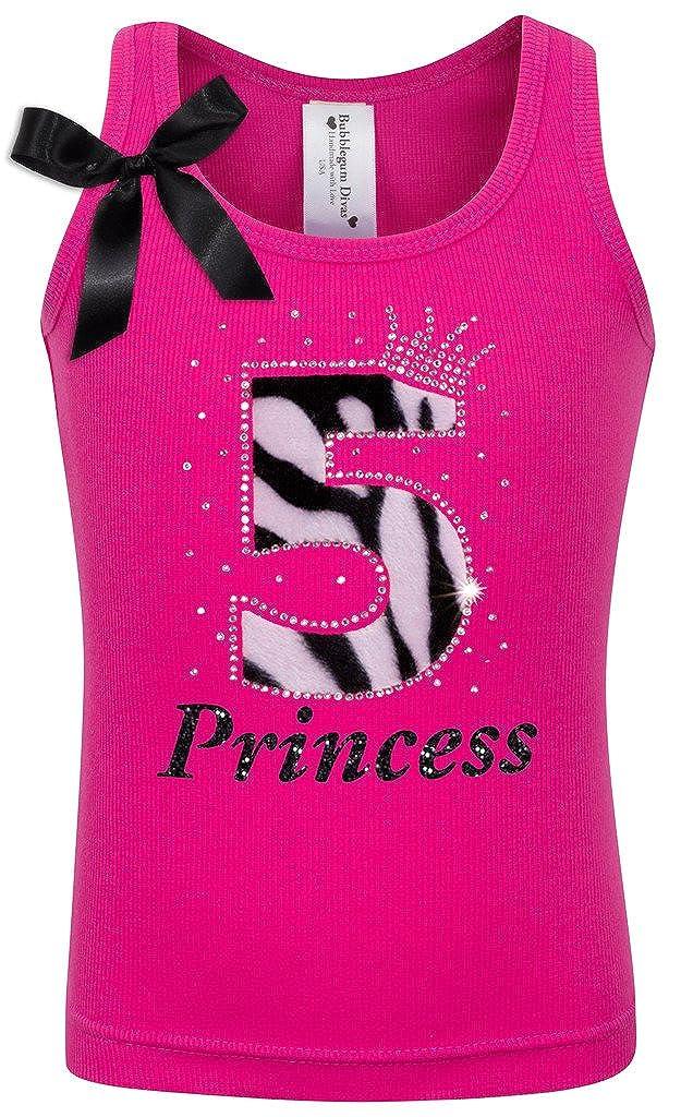 Bubblegum Divas Little Girls 5th Birthday Princess Zebra Print Animal Shirt