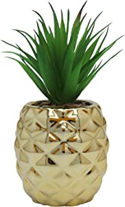 Kimdio Ceramic Potted Artificial Succulent Decoration Fake Pineapple Plant Home Decor Tabletop Office Desk Outdoor Decoration - Gold