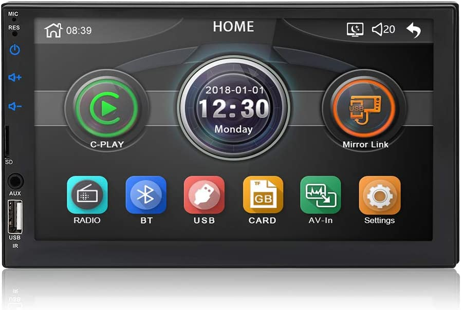 MiCarBa Double DIN Car Stereo Bluetooth Radio Video Player, 7 Pulgadas HD Car Video Stereo Soporte Android Phone Mirror Link. (CL7043)