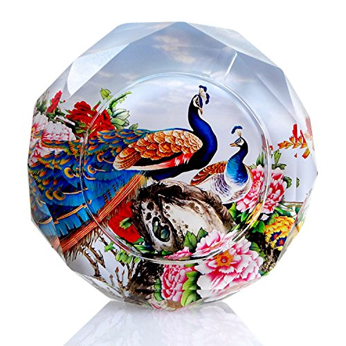Newrara Crystal Cigarette Ashtray Ash Holder Case,Peacock Pattern Home Office Tabletop Beautiful Decoration Craft (4.7 inch, Peacock)