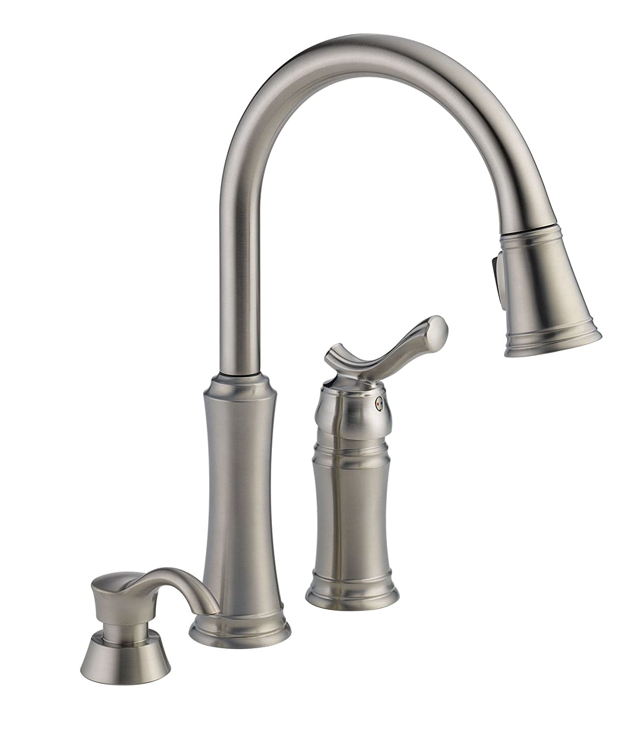 Delta Faucet 59963-SSSD-DST Modern Heritage Pull-Down Kitchen Faucet with Soap Dispenser, Stainless