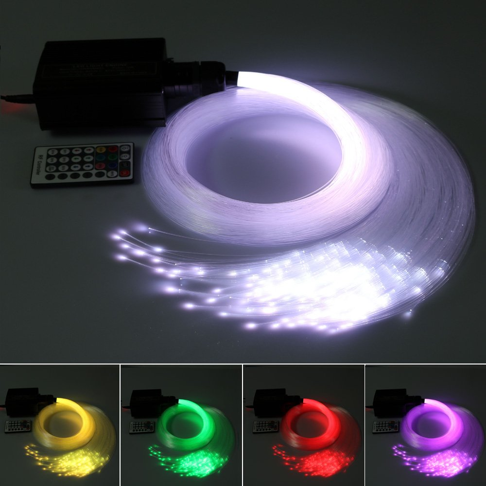 16W Fiber Optic Light Star Ceiling Kit, LED RGBW Engine Driver + RF 28 Key Remote Control + Power Supply + Optical Fiber Cable 0.03in/0.75mm 6.5ft/2m 300 Strands