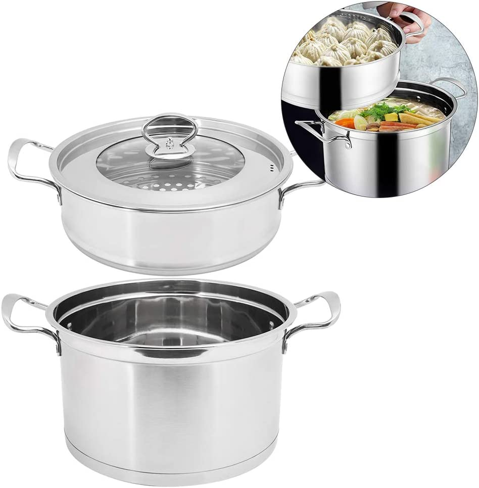 Double Layer Stainless Steel Soup Pot with Composite Bottom Kitchen Supplies for Steaming and Stewing Soup 20 x 29 cm