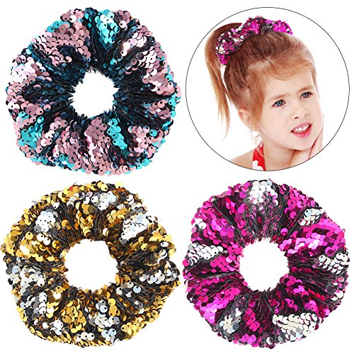 Hair Scrunchies, Beinou Sequin Scrunchies Elastic Stretch Sparkly Glitter Fashion Scrunchie Hair Tie Ponytail Holders Bun Cover for Girls and Women - Pack of 3 ()