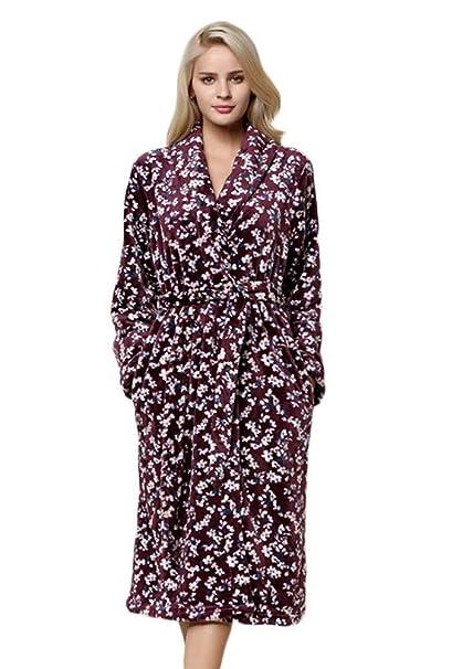 Mujer Albornoz Elegantes Moda Cómodo Kimono Suave Otoño Invierno Florales Fashionista Camisones Manga Larga V-Cuello con Bolsillos Cinturón Batas Pijamas ...