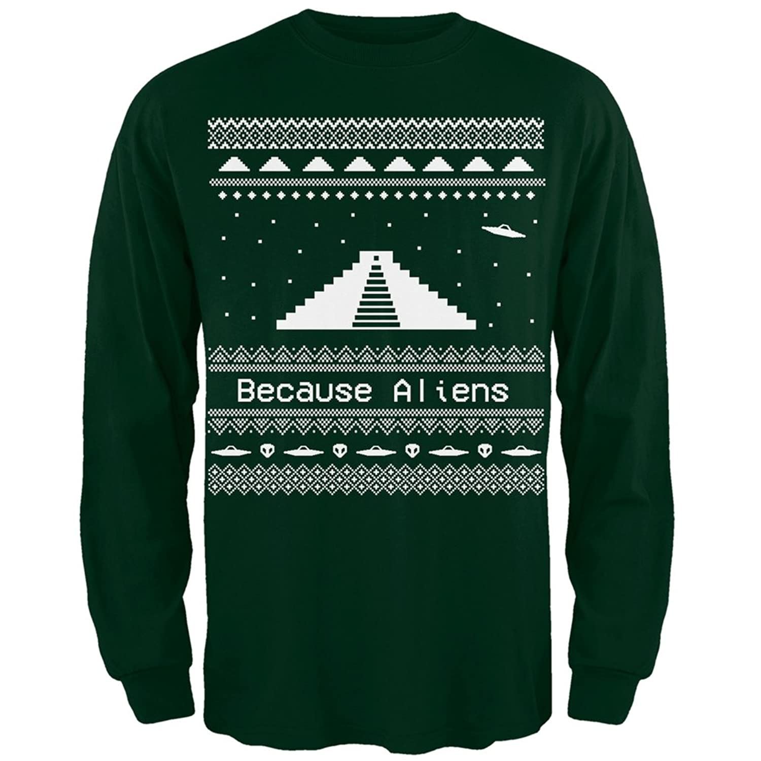 Amazon.com: Ancient Aliens Ugly Christmas Sweater Green Long ...