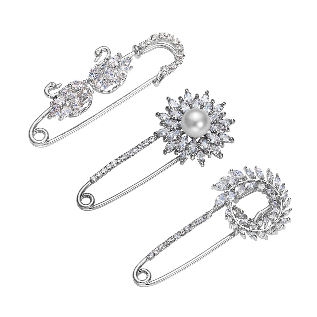 Jovivi 3pcs Clear Cubic Zirconia Crystal Floral Feather Safety Pin Brooches Suit Sweater Scarves Scarf Brooch Charm by Jovivi (Image #1)