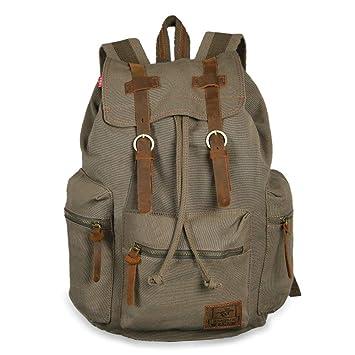 594387faa0685 Canvas Rucksack Herren Damen Vintage Rucksack Segeltuch Leder Gross für  14-15.6 Zoll Laptop Uni