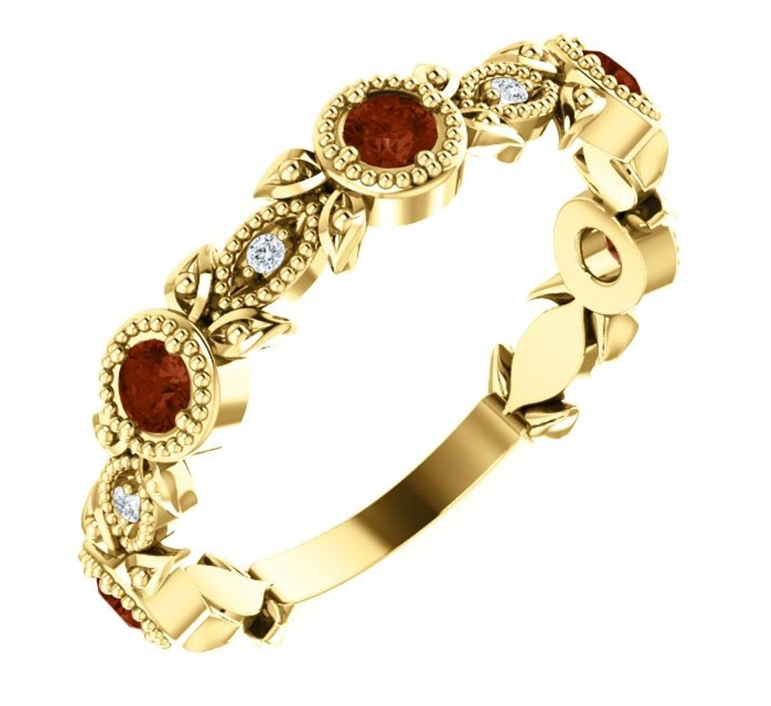 Mozambique Garnet and Diamond Vintage-Style Ring, 14k Yellow Gold, Size 7.25 by The Men's Jewelry Store (for HER)