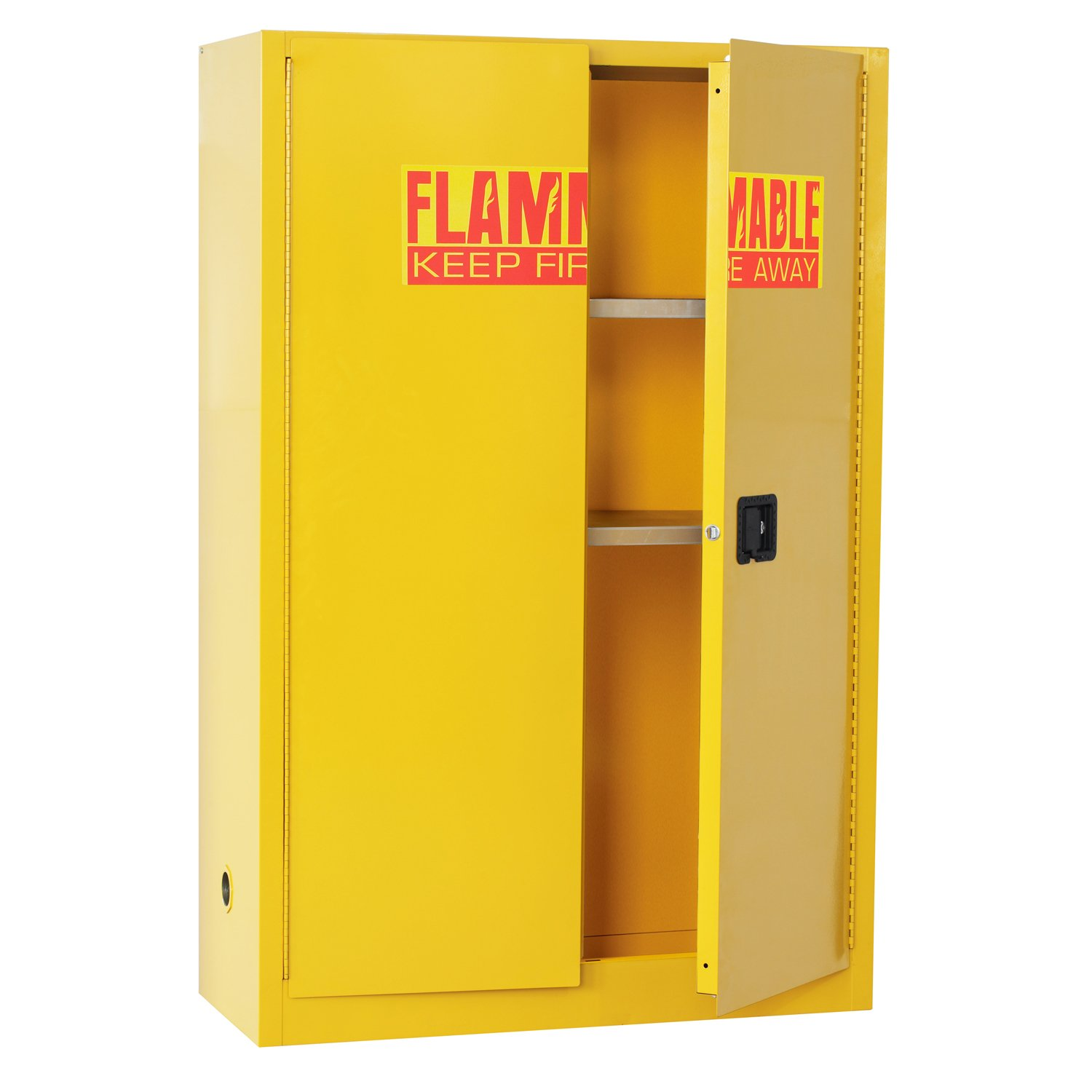 Sandusky Lee SC450F Yellow Steel Safety Cabinet for Flammable Liquids, 2 Shelves, 2 Door Manual Close, 45 Gallon Capacity, 65'' Height x 43'' Width x 18'' Depth