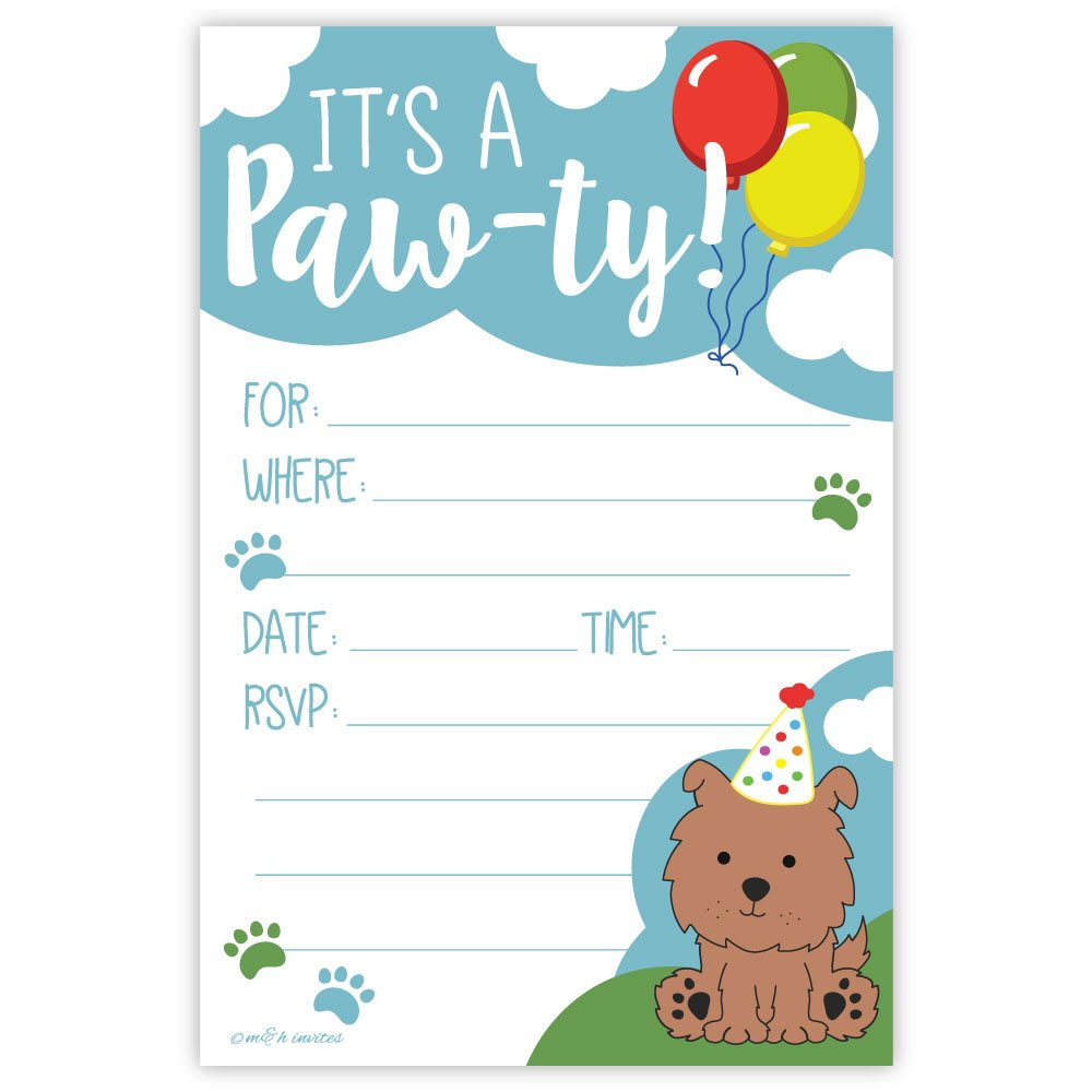 Amazon.com: Puppy Birthday Party Invitations (20 Count) With ...