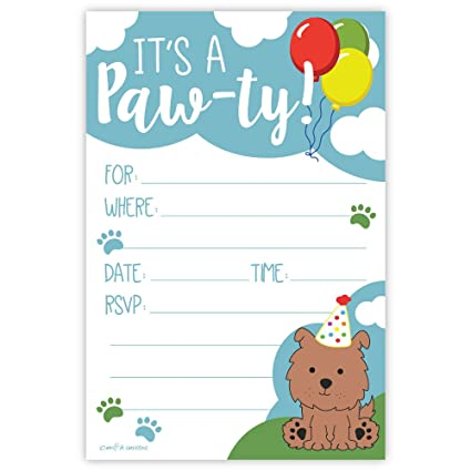Amazon Com Puppy Birthday Party Invitations 20 Count With