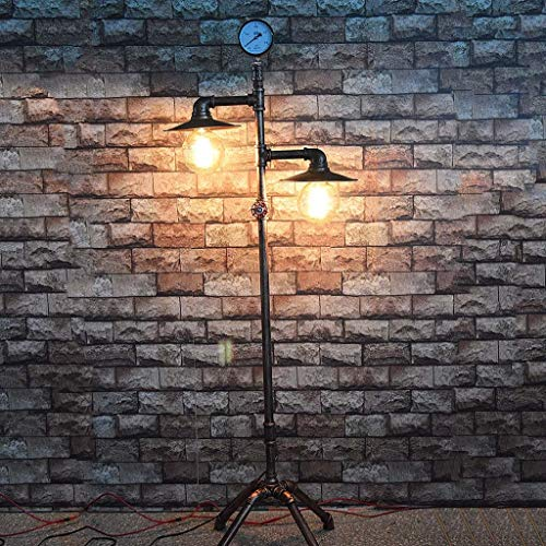 (YWLDD Floor Lamps Industrial Retro Two-Head Wrought Iron Floor lamp, Retro Water Pipe lamp Floor lamp E27 lamp Family bar Restaurant Cafe Metal Crafts)