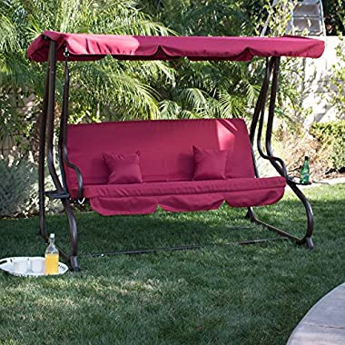 Bellezza© 3 Seat Porch & Patio Swing / Bed with pillow -Burgundy