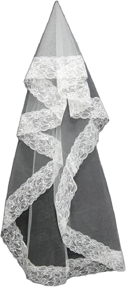 FLCH+YIGE Bridal Veil with Comb 1 Tier Eyelash Lace Trim Edge Fingertip