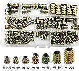 HanTof 105pcs Zinc Alloy Hex Socket Screw Inserts Threaded Insert Nuts Assortment Tool Kit Furniture Bolt Fastener Connector for Wood Furniture (7 Size M4/M5/M6/M8/M10)