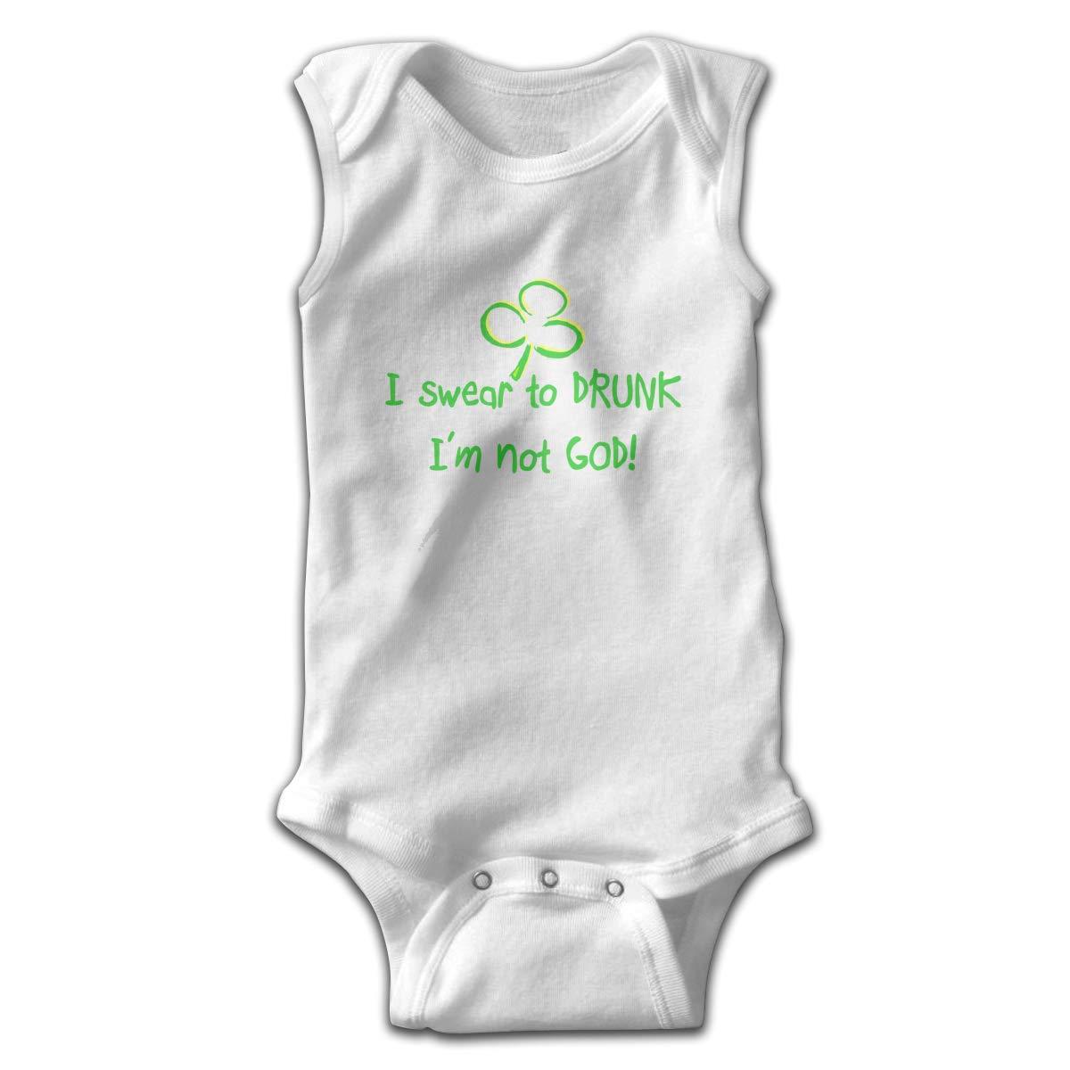 Infant Baby Girls Rompers Sleeveless Cotton Onesie,I Swear to Drunk I Am Not God Bodysuit Winter Pajamas