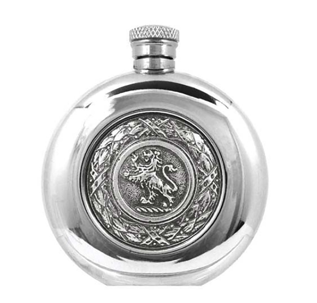 Prince of Scots Pewter Flask with Rampant Lion Emblem