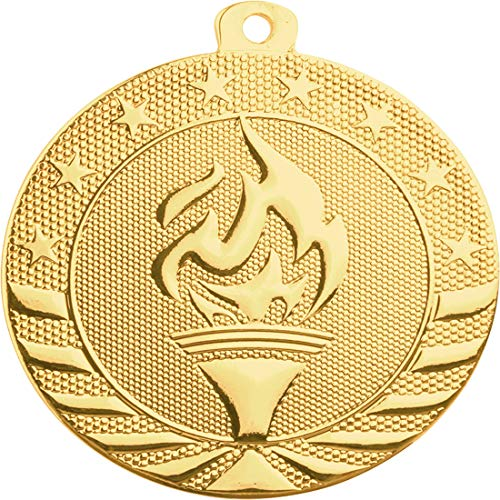 Express Medals 10-Pack of Victory Torch Champion 2 inch Gold Color 1st Place Medal Trophy with Neck Ribbons Metal Awards