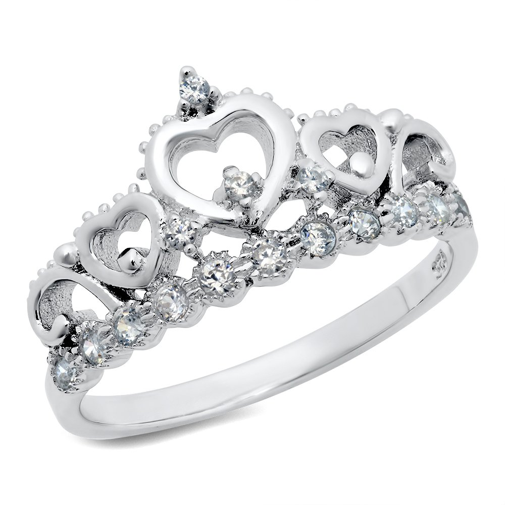 925 Sterling Silver Cubic Zirconia Princess Heart Crown Tiara CZ Band Ring Metal Factory
