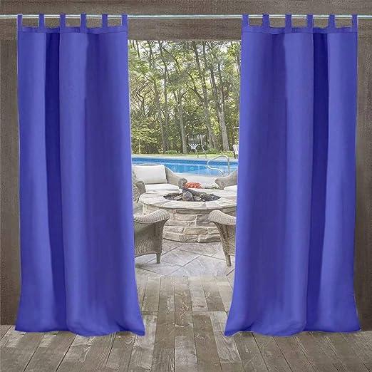 DOMDIL - Cortinas para exterior, cortinas para jardín, cortinas para balcón, 132 x 215 cm, cortinas con