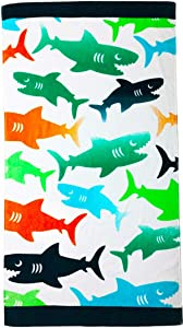 "YIFONTIN Beach Towel for Kids Shark Velour Terry Towel Cotton Blanket Throw 24"" X 48"" for Travel Swimming Bath Camping and Picnic, Green Orange Navy"