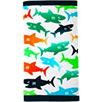 YIFONTIN Beach Towel for Kids Shark Velour Terry Towel Cotton Blanket Throw 24€ X 48€ for Travel Swimming Bath Camping and Picnic, Green Orange Navy