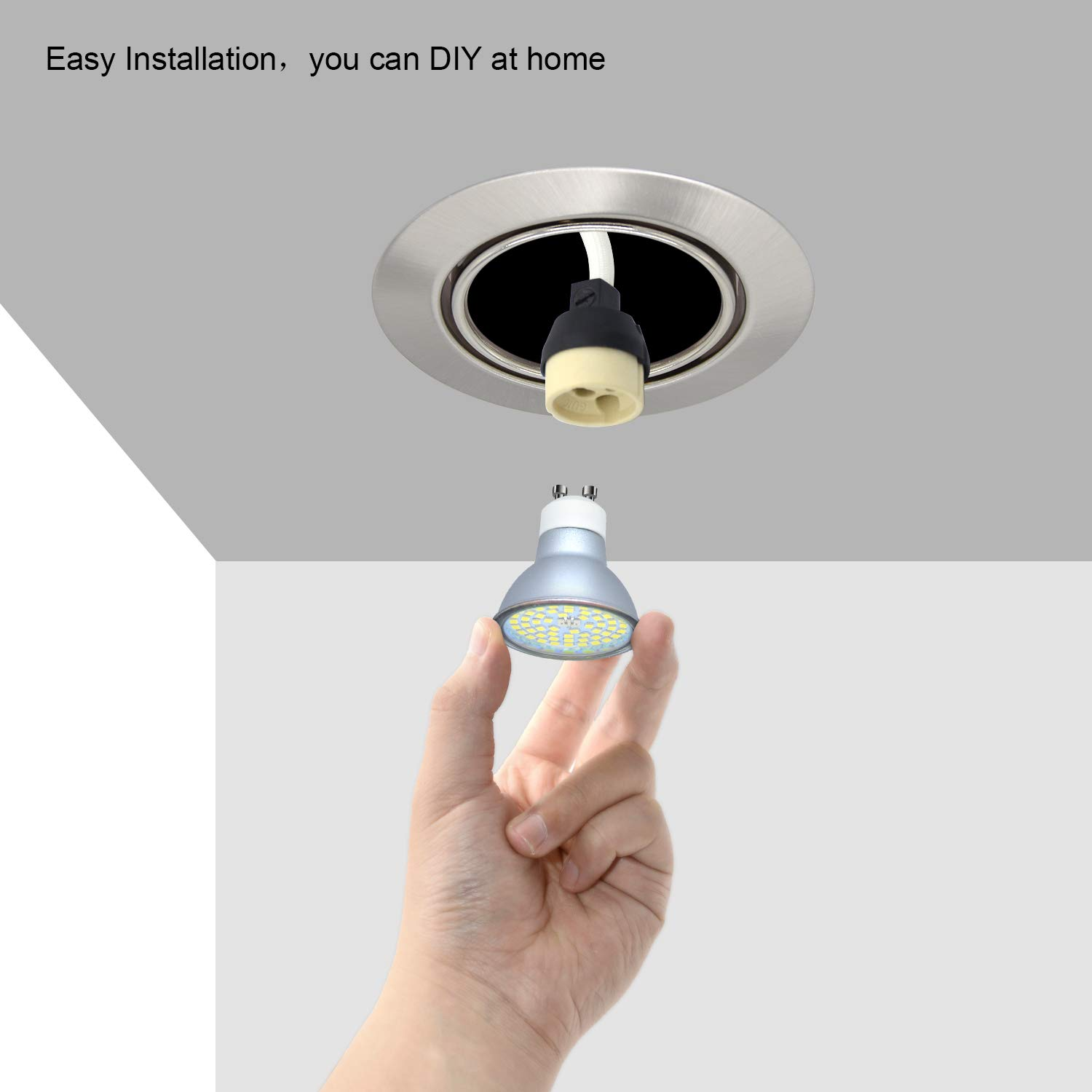 6X Round GU10 Downlights Tilt Recessed Ceiling Lights Brushed Chrome Spotlight Fitting with 5W GU10 LED Bulbs Warm White 450lm