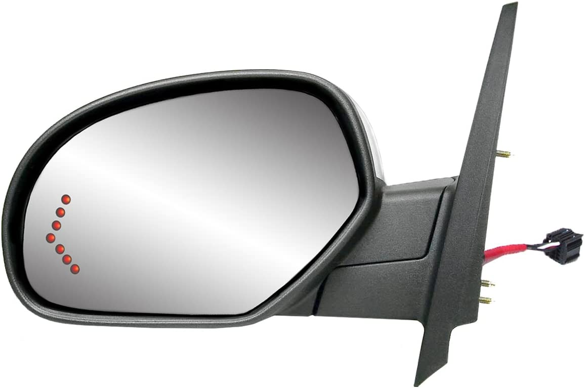 Fit System 62143G Silverado//Sierra// Avalanche// Escalade Passenger Side Textured Black Heated Power Replacement Mirror with Turn Signal and PTM Cover